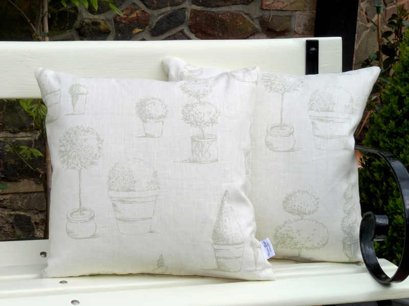Topiary cushion in sage