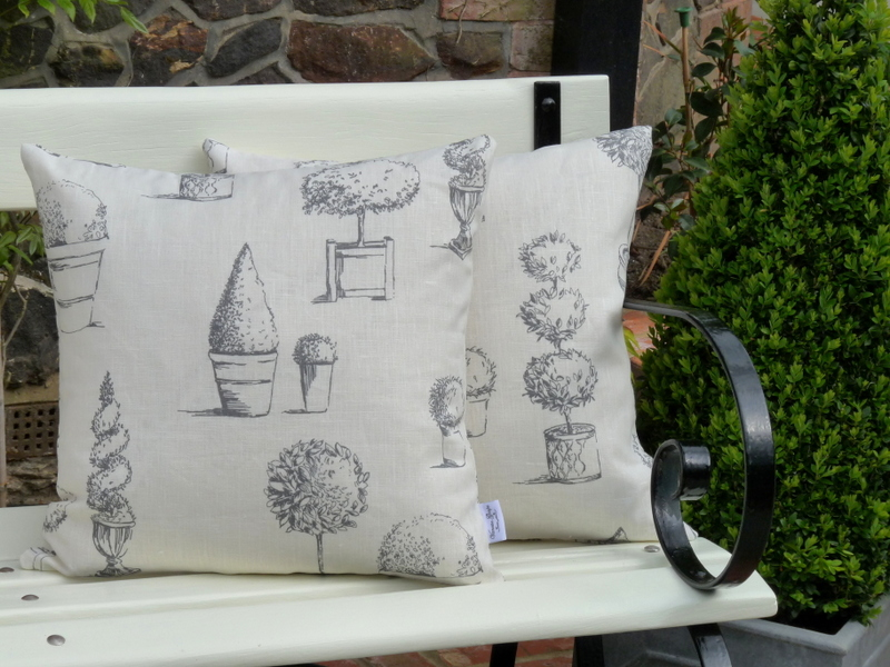 Topiary cushion in charcoal