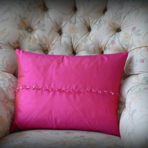 Cerise crystal cushion