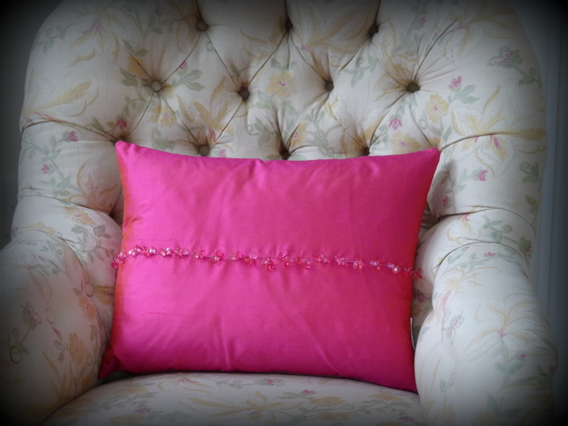 Cerise crystal cushion