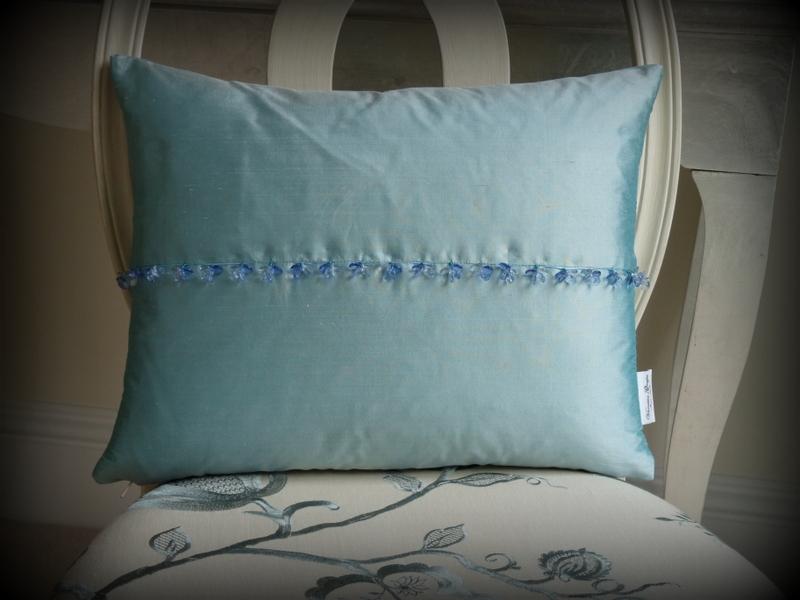 Boutique crystal aqua cushion
