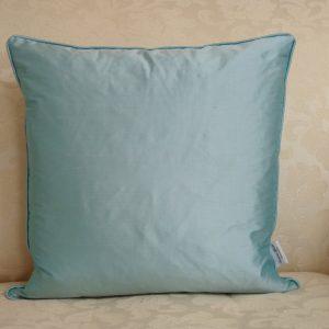 Silk square cushion in aqua