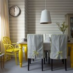 Ticking & yellow dining room