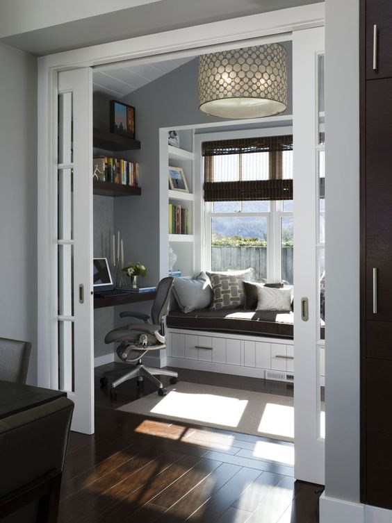 home office with sliding doors